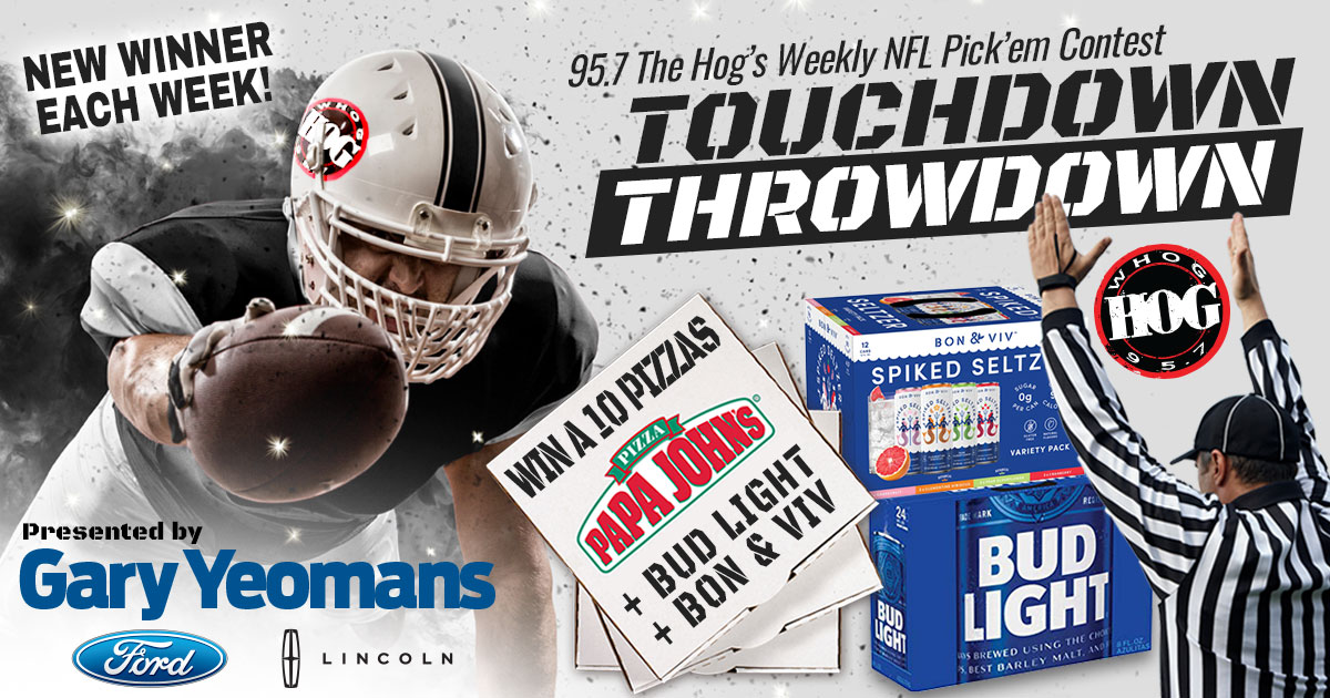 95.7 The Hog Touchdown Throwdown Weekly NFL pickem contest sponsored by Gary Yeoman's Ford