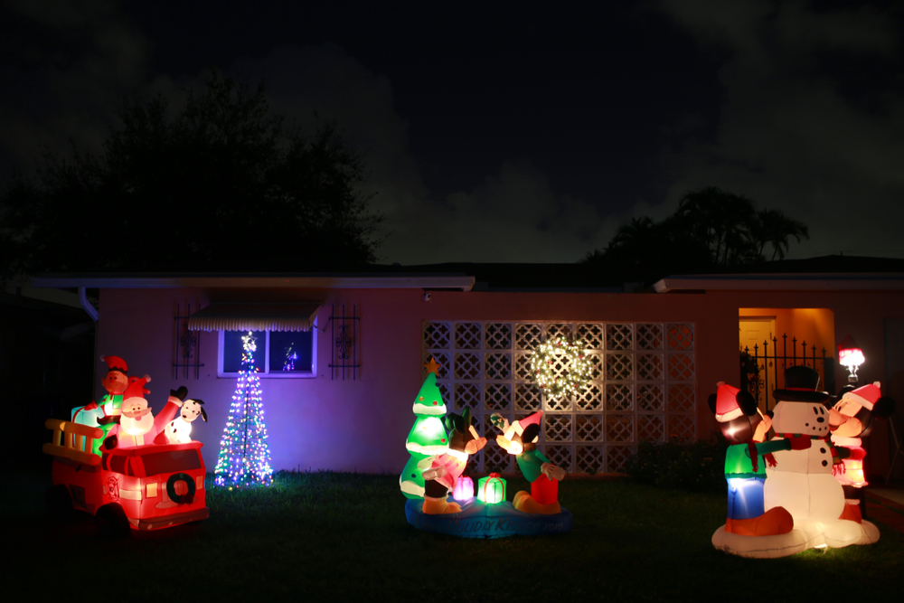 Christmas decorations in yard